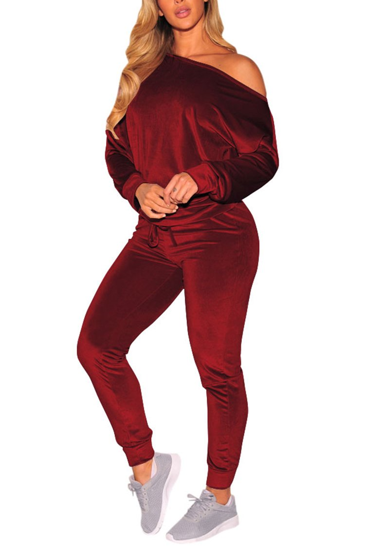 Selowin Women's Soft Active 2 Piece Velour Off Shoulder Casual Pants Tracksuit Wine Red L