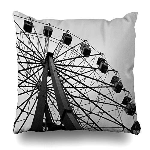 (AlliuCoo Throw Pillow Covers Milli Old Ferris Wheel Bulvar Deniz Kenari Scratched Parks Absheron Istic Azerbaijan Azerbaycan Home Decor Zippered Cushion Case Square Size 20