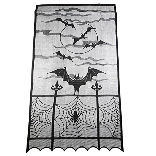 - DAVEVY Halloween Web Curtains Lace Bat Spider Window Curtain Festival Heritage Black Room Door Window Decors(1#Full Overlay)