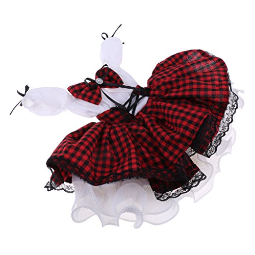 Homyl Enchanted 2-Layered Plaid Dress and Neckerchief Outfit Clothing for 1/3 60cm Night Lolita BJD SD Doll