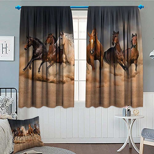 - Strongger Horse Country Khaki Thermal Insulating Blackout Curtain Masculine Running Horses Southwestern Gifts for Equestrians Farm Patterned Drape for Glass Door 72