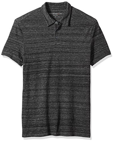John Varvatos Men's Short Sleeved Polo with Vertical Pickstitch Detail, Black, XX-Large