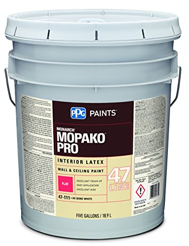 Latex Paint, Bone White, Flat, 5 gal, Mopako, , Interior Paint for Rooms (5 Gallon Flat)