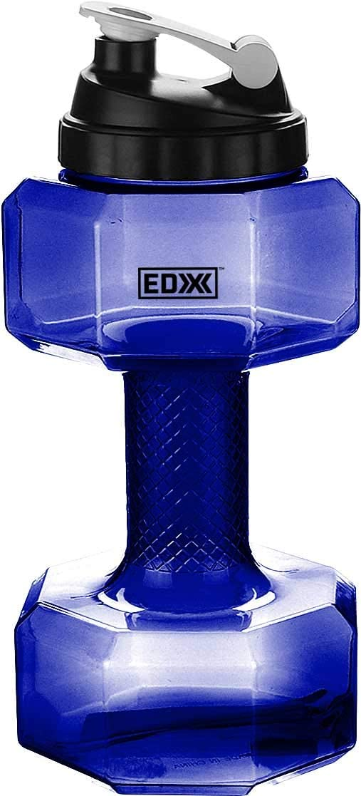 EDX Water Bottle Dumbbell Shaped Leak Proof Flip Top 2.2 L Assorted Sizes and Colors BPA Free 750 mL
