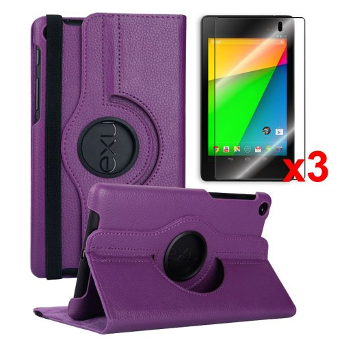 Yarmonth- Google New Nexus 7 FHD 2nd Gen 360 Degree Rotating Stand Cover Case + 3 pcs Clear Screen Protectors Bundle for Google Nexus 7 2nd Gen 2013 Android 4.3 Tablet By Asus (Landscape/portrait View, Smart Cover Auto Wake / Sleep Feature)-purple by YarMonth