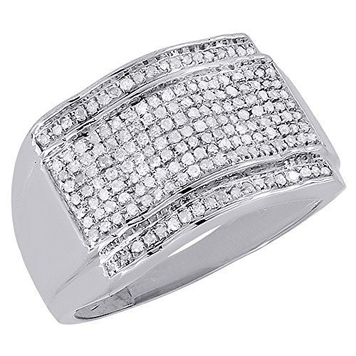 10K White Gold Diamond Pave Mens Pinky Ring Domed Round C...
