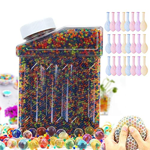 Dekiru Water Beads Rainbow Mix, 50000 Beads Non Toxic Water Beads Vase Filler, Bottle Pack Bead Sensory Balls for Kids, Decoration, Plants and More (20 Pack Water Balloons Included)
