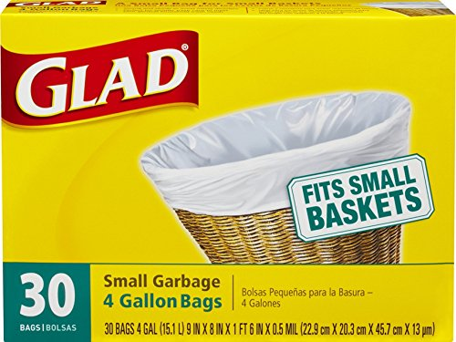 Glad Small Trash Bags, 4 Gallon, 30 Count (Pack of 12)