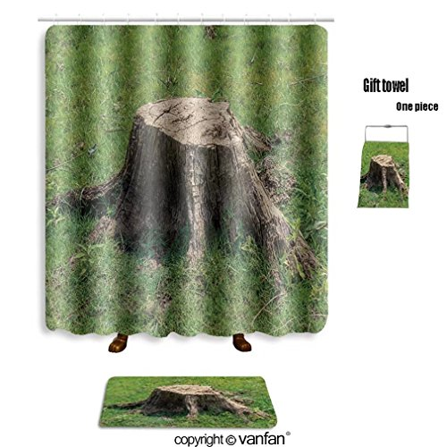 vanfan bath sets with Polyester rugs and shower curtain stump on green grass or graden 559709995 shower curtains sets bathroom 69 x 90 inches&31.5 x 19.7 inches(Free 1 towel and 12 hooks)
