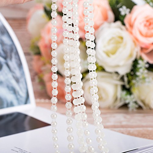 20 Yards Pearls Beads Chain, Pearl Strands Strings Pearl Bead Garland for Flowers Wedding Centerpiece Bridal Bouquet DIY Project Crafts Party Decoration Clothing Accessories ()