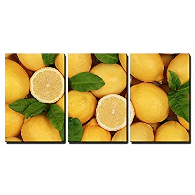 3 Piece Canvas Wall Art - Group of Fresh Lemons with Leaves and Sliced Lemons Forming a Background - Modern Home Art Stretched and Framed Ready to Hang - 16