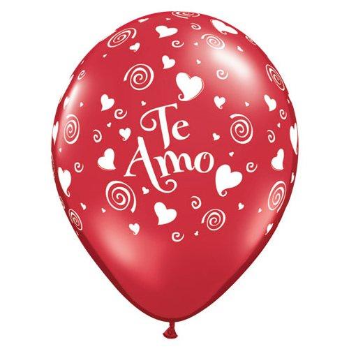 Qualatex Latex Balloons 48907-Q Te Amo Swirling Hearts (6 Pk), 11