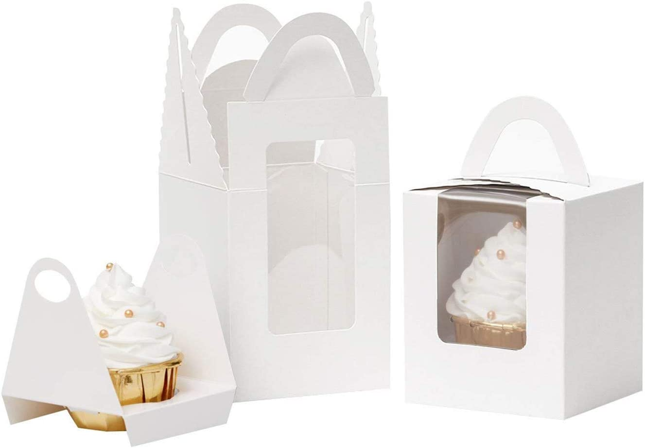 Walk Arrive Cupcake Box Clear Display Window with Strong Handle and Secure Insert Cake Box Bakery Box Cupcake Carrier Cupcake Holder Container for Baby Shower Wedding Birthday Festival Party(20,White)