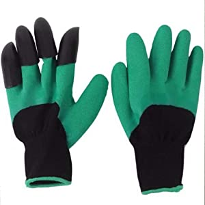 YHGTLL 4 Pairs Garden Genie Gloves with Claws for Men Or Women, Green Waterproof Garden Gloves for Digging Planting, Best Gardening Gloves for Gardener, for Digging and Planting,Breathable.