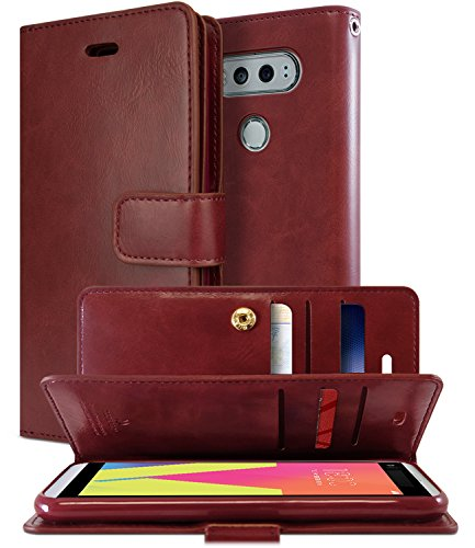 GOOSPERY LG V20 Case, [Extra Card & Cash Slots] Mansoor Diary [Double Sided Wallet Case] Soft PU Leather [Drop Protection] Cover for LG V20 (Wine) LGV20-MAN-WNE