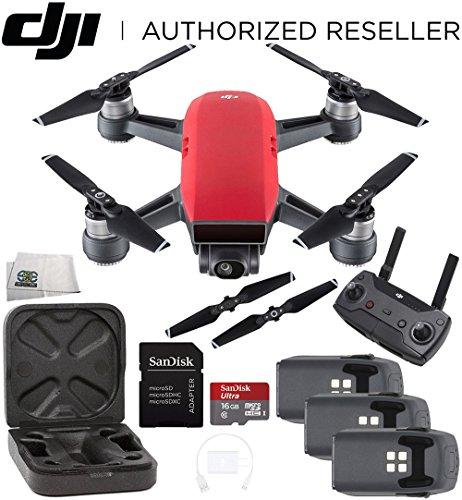 DJI Spark Quadcopter (Lava Red) + DJI Spark Remote Ultimate Bundle by SSE