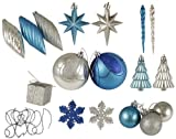 125-Piece Club Pack of Shatterproof Ice Palace Silver & Blue Christmas Ornaments