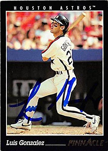 (Autograph 122401 Houston Astros 1993 Pinnacle No. 312 Luis Gonzalez Autographed Baseball Card)