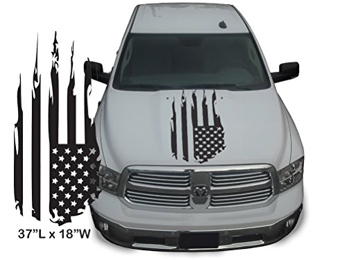 Distressed Molding (3M SERIES VINYL - (1 piece) Distressed American Flag USA Torn Ripped Tattered Automotive Truck Graphic [37L x 18W Inches] Sticker Decal Kit (Matte Satin Black))