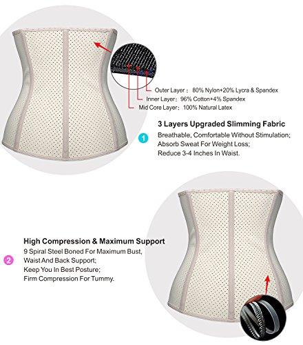 47a981ffea9 YIANNA Women Latex Waist Trainer for Weight Loss Sport Shaper ...
