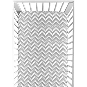 Sweet Jojo Designs Fitted Crib Sheet for Turquoise and Gray Chevron Zig Zag Baby/Toddler Bedding – Chevron Zig Zag Print