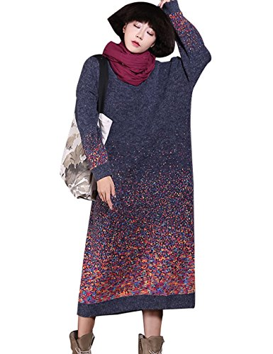 Zoulee Women's Gradient Color Long Thick Sweater Dress Blue