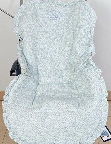 Colchoneta para silla de paseo universal flor celeste. Funda silla de coche. Mundi Bebé.