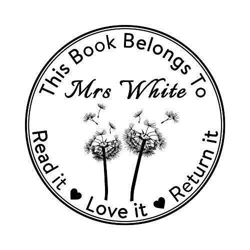 This Book Belongs to Read it Love it Return it Rubber Stamp-Personalised Self Inking Return Teacher Stamp-Individual Heart Love Shape Dandelion Design Lable-Round 1.65inch 1pc Signet-Halloween Gift]()