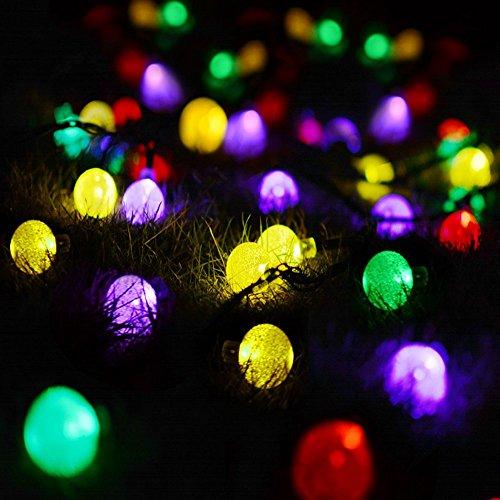 Bright 21-Foot Solar Outdoor Light, 30LED Crystal Ball, Christmas Lights, Family Garden Lawn Party, Holiday Outdoor Decoration (Multicolor) 21' Tall Lamp