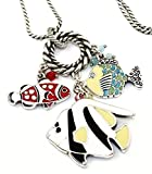 Brighton Sea Frolic Fish Long Enamel Silver Plated Necklace