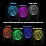 Basketball 3D Illusion Birthday Gift Lamp, Gawell 7 Color Changing Touch Switch Xmas Decoration Night Light Acrylic Flat & ABS Base & USB Cable Toy for Basketball Sports Theme Fans