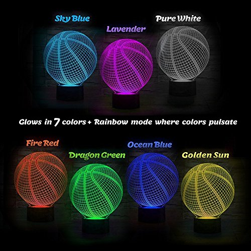 Basketball 3D Illusion Birthday Gift Lamp, Gawell 7 Color Changing Touch Switch Xmas Decoration Night Light Acrylic Flat & ABS Base & USB Cable Toy for Basketball Sports Theme Fans by Gawell (Image #1)