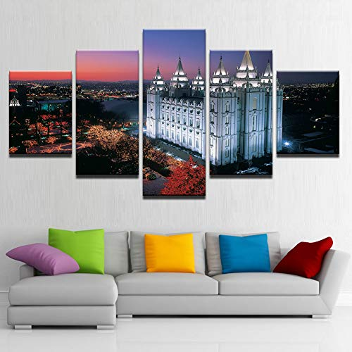 SHUII Framed Home Decoration Modern Wall Art Pictures Posters 5 Panel Salt Lake City'S Temple Square Living Room HD Printed Painting Frame 30x40cm 30x60cm ()