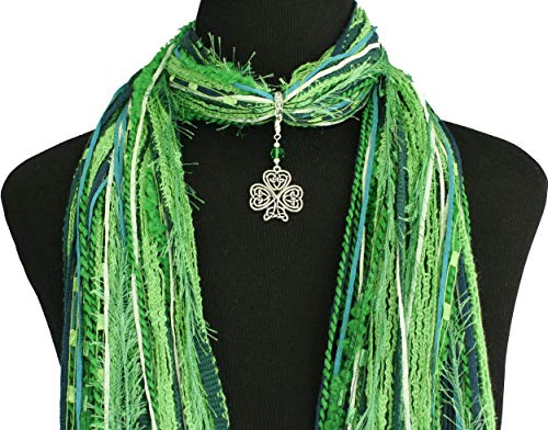 (Celtic Knot Irish Shamrock Necklace Scarf ~ Green St Patrick's Day Accessory ~ Triquetra Trinity Knot ~ Color Choice ~ Quality Fibers ~ Detachable Pendant Option)