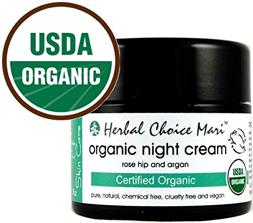 Herbal Choice Mari Organic Night Cream Rose Hip and Argan 50ml/ 1.7oz Glass Jar