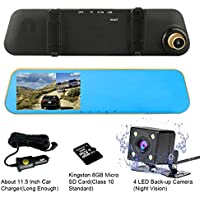 TENNBOO 4.3 Full HD 1080P Dual Lens Car Dash Camera 170°Wide Angle Front and Rear Mirror Mount DVR with G-Sensor, Loop Recording,Night Vision(8G Micro SD Card Included) (Gold)
