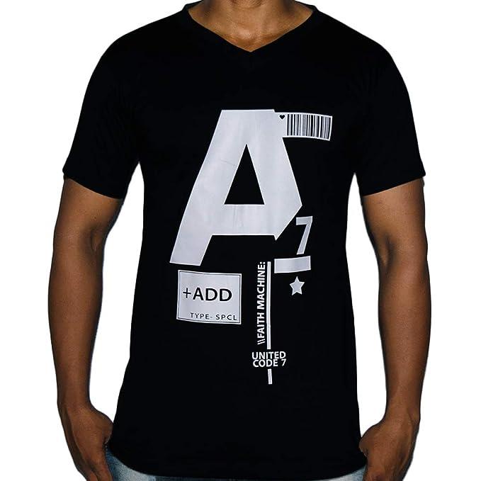 87b4bf4cbc YUV Mens 100% Cotton Multicolor V Neck T-Shirts: Amazon.in: Clothing ...