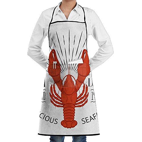 ZhiqianDF Seafood Vintage Label With Lobster For Your Restaurant Bar Pub And Cafe Design Modern Design Bistros Black One Size Apron With Pockets (Vintage Lobster)