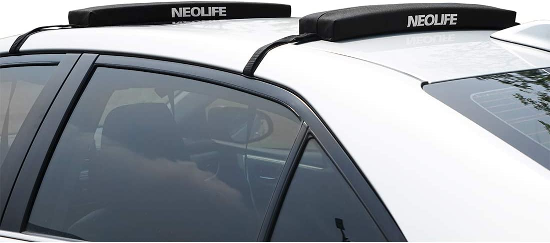 Neolife Soft Roof Rack Pads with Single Wrap-Rax Straps for Surfboard, SUP Paddleboard, Snowboard, Kayak, 19/28inch (Pair)