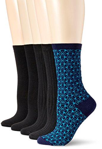 anne-klein-womens-wild-flowers-patterned-crew-socks-5-pack-navy-9-11