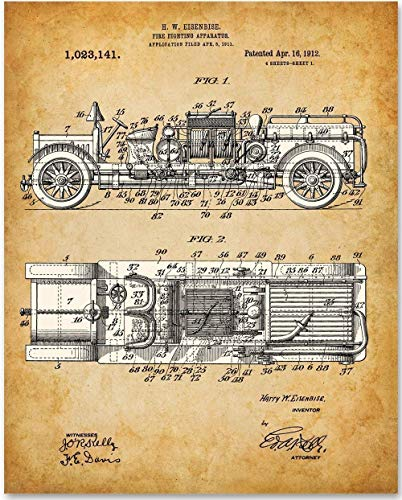 Firetruck - 11x14 Unframed Patent Print - Makes a Great Gift Under $15 for Firefighters