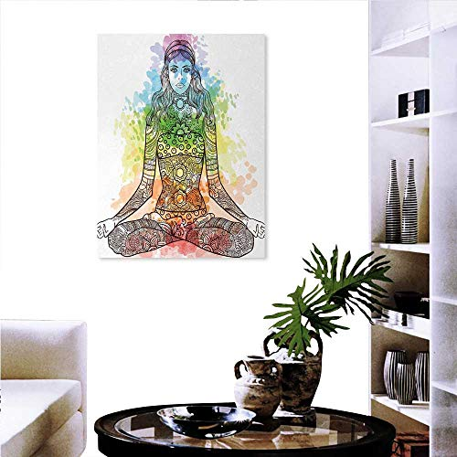 ll art painting for home decor Tattoo Mehndi Style Vintage Ornate Woman Figure in Lotus Pose Chakra Aura Watercolor wall decorations for living room sticker 24