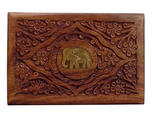 Wooden Jewelry Box center elephant carving Work 7X5,Storage Box,Gift your Valentine's on Special - Elephant Carved Wooden