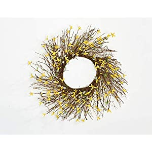 """Worth Imports 24"""" Forsythia Pussy Willow Twig Wreath, Yellow,Gray,Brown 5"""