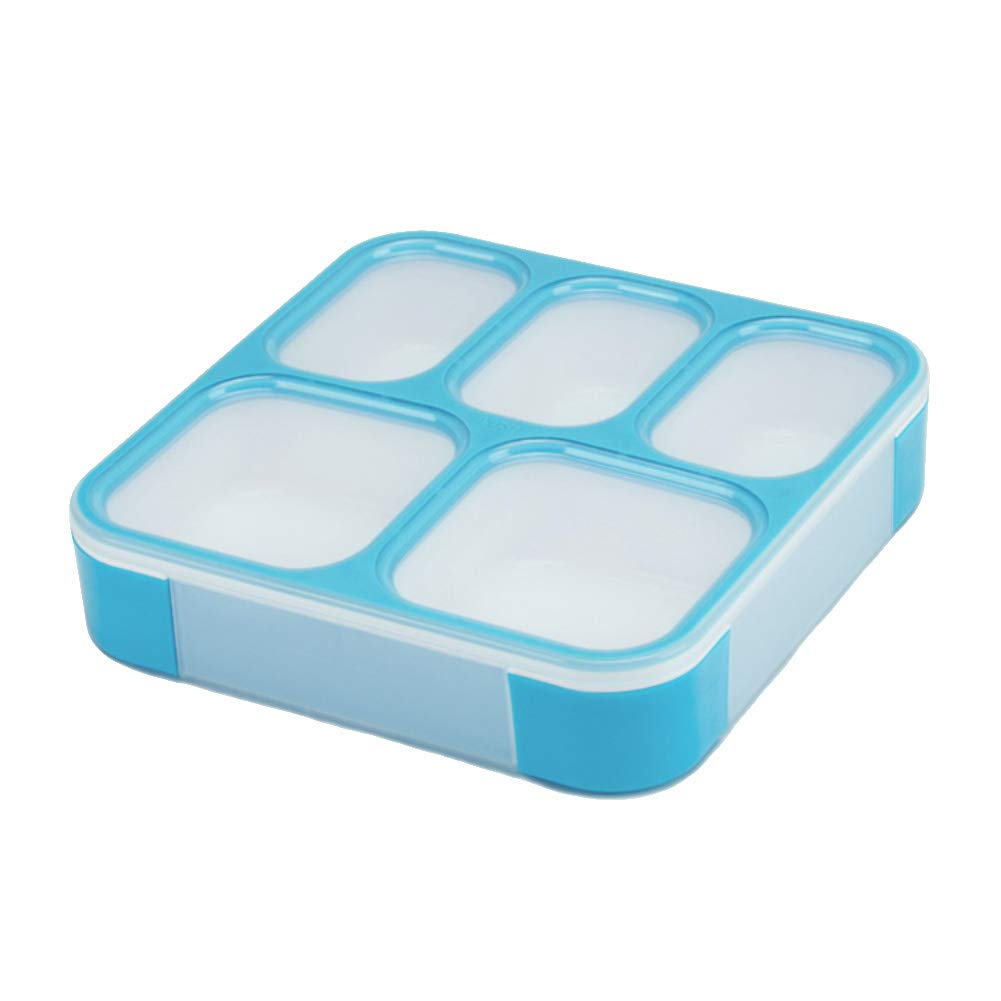 Ss-Lqlhy Portable Camping Lunch Box,5 Compartments Sealed Leakproof Student Oven Bento Lunch Box Case Food Container Blue