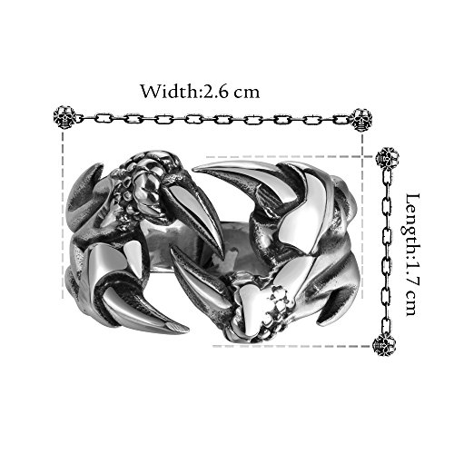 Efloral Jewelry Men's and Women's Stainless Steel Classic Dragon Animal Claw Zodiac Shaped Men's Ring, Sliver, Size 8-11