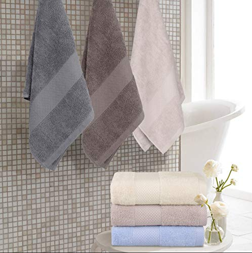 Wonwo 100% Cotton Bath Towels, 600 GSM Luxury 6 Piece Set - 2 Bath Towels, 2 Hand Towels, and 2 Washcloths - Gray - VALUABLE PACK & SUITABLE SIZE--Wonwo bath towel set comes with a convenient 6-piece set for home travel and fitness use. Provides users with all basic bathroom drying needs in one convenient bundle. It includes two bath towels (27x55 inches), two hand towels (13x28 inches), and two wash cloths (13x13 inches) appropriate for all ages. 100% COTTON--Towels are made of high quality natural cotton and have high absorbency. Enjoy the ultimate smooth experience and soft touch. Perfect for babies. The breathable plush is easier to dry. It's safe to use. COMFORTABLE & DURABLE--The bath towel set is 600 GSM, which makes them thicker, stronger, extra absorbent, and more comfortable than others. These towels are elegantly woven to produce an exquisite, high quality, and durable material. Double stitching on all hems insures extra durability. - bathroom-linens, bathroom, bath-towels - 515mLqdqR L -