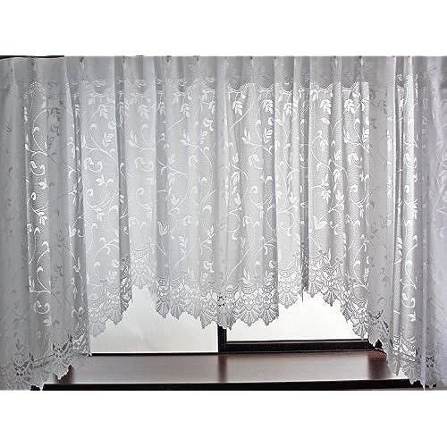 プリンセススタイルカーテン 出窓用レースカーテン スカラップ型