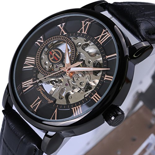Mens Retro Mechanical Watch Black Leather Strap Three Hands Roman Number Transparent Dial Skeleton Concise (Model _5) - Number 5 Leather