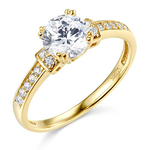 - TWJC 14k Yellow Gold SOLID Wedding Engagement Ring - Size 6
